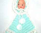 Vintage Handmade Baby Face doll Nursery Hanging, Soft Mint Green and White, Precious Pom poms, Package Decoration / Wall Hanging / Potholder