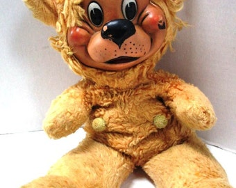 Vintage Rubber Face Stuffed Plush Toy, Baby Boomers Buddy, Lovey Security Companion, Gold Gund Teddy Bear, Lion, Happy Character, Scruffy