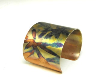 Wide copper cuff bracelet, colorful flame painted patina,  abstract modern OOAK bracelet, hippie boho renaissance cuff, SilverStonesConcepts