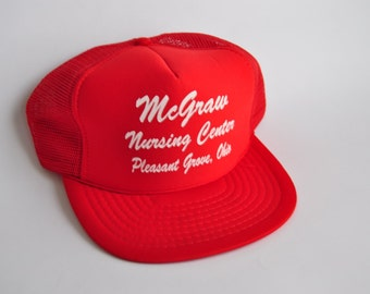 Vintage Baseball Cap 80s McGraw Nursing Home Pleasant Grove Ohio Mesh Trucker Hat Bright Red