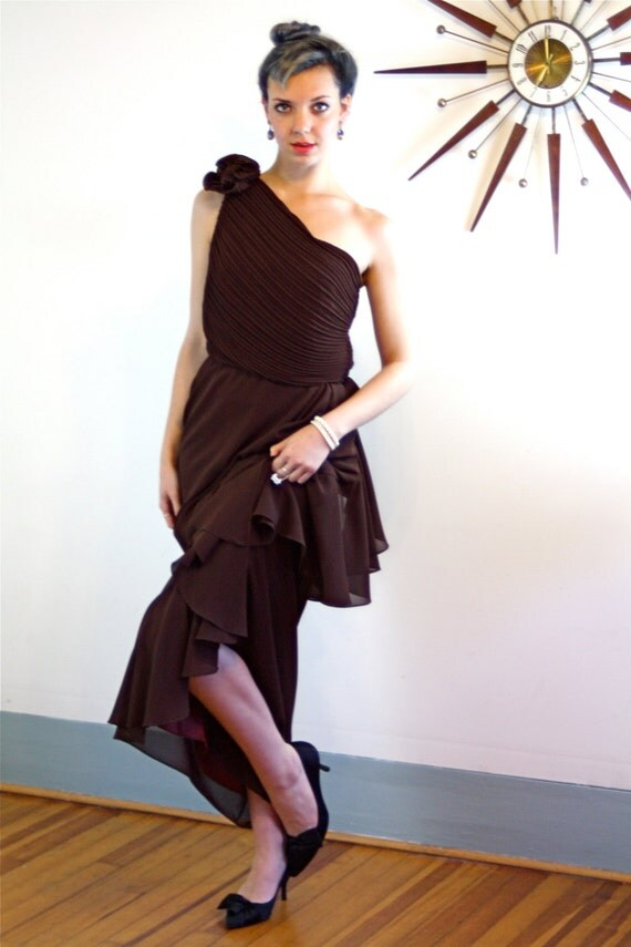 Vintage 60s Chiffon Maxi Dress Cocktail Party Dark Chocolate Brown Ruffle Grecian Goddess One Shoulder Draped Pleated Layered 60s Prom Dress