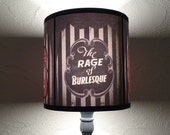 Burlesque Cabaret black Lampshade lamp shade - lighting, french decor, pin up girls,burlesque dancer, boudoir lamp shade, striped lamp shade