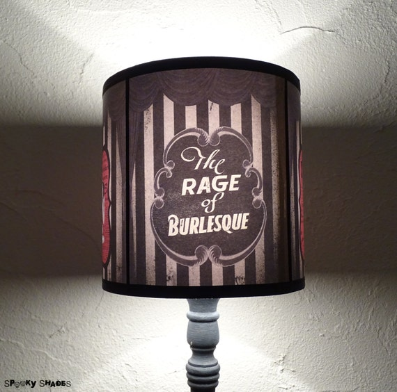Burlesque Cabaret Lampshade lamp shade - lighting, decor, pin up girls , burlesque dancer,  boudoir lamp shade, striped lamp shade
