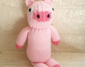 Pink Pig Stuffed Animal Toy/ Hand Knitted Amigurumi Plush Doll/ Handmade Toys/ Knit Pig/ Gift For Kids