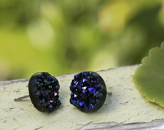 Faux Druzy Stud Earrings - Black, Purple and Blue Sparkles, 12mm Glitter on Stainless Steel Posts