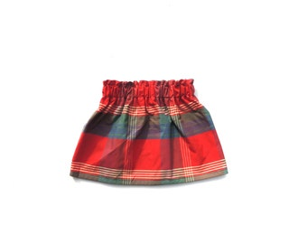 Girl's Plaid Skirt Paper Bag Waistband Red Blue Green Handmade Fall Fashion
