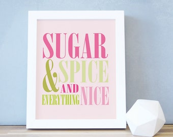 Nursery Rhymes Art Print Sugar and Spice Poster Pink Green Nursery Decor Typography Modern Fun 8x10 16x20 White Frame. Sugar and Spice Print