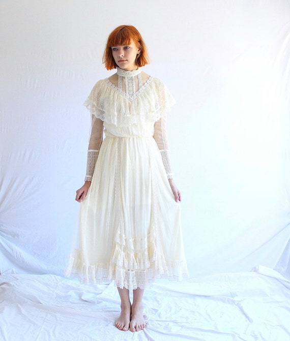 Vintage gunne sax lace wedding dress 70s victorian for Gunne sax wedding dresses