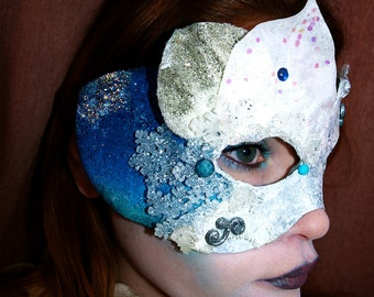 Silver Blue Leather Base Frozen Fairy mask with silver star and snowflakes