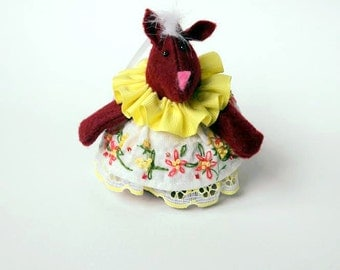 Felt Fox Christmas Ornament in Maroon, wearing a Vintage Handkerchief Dress in White and Yellow with floral embroidered embellishments