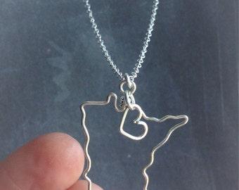 Minnesota Necklace - Minnesota State Necklace - Home State Necklace - Personalized Necklace - Minnesota Pendant - Personalized Gift