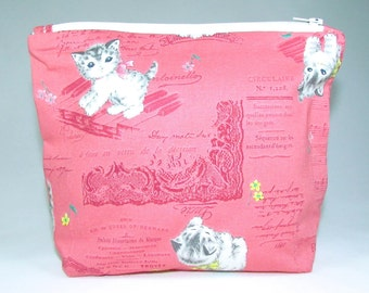 POUCH - Kittens and Musical Notes **handmade**