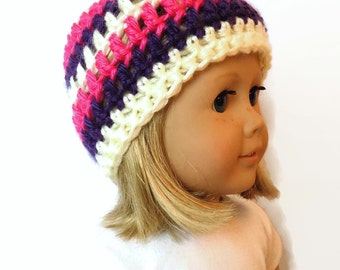 Knit Doll Hat 18 Inch Doll Clothes Striped AG Doll Beanie
