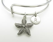 Starfish Charm Bangle, Starfish Bracelet, Adjustable Expandable Bangle, Personalized Initial Bracelet, Stacking Bangle, Monogram K041