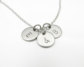 Ampersand and Two Initials Necklace (Y002). Stainless Steel Custom Stamped Charm Necklace.