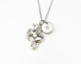 Unicorn Necklace with Initial Charm (Y009). Unicorn Charm with Personalized Stamped Initial. Stainless Steel Monogram Necklace.