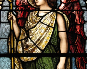 Red Winged Angel - Fine Art Canvas Print of Stained Glass Window