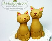 Cat Wedding Cake Topper Kitty Cats READY TO SHIP - Handmade by The Happy Acorn