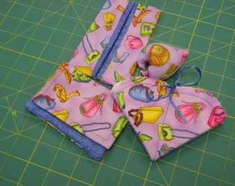Sewing Accessories Set of 4-- Card Wallet, Tissue Holder, Pin Cushion, Needle Case