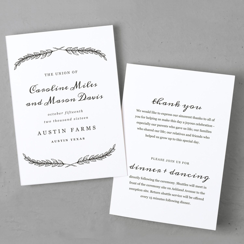 printable wedding program template instant download quill folded 5x7 editable colors. Black Bedroom Furniture Sets. Home Design Ideas