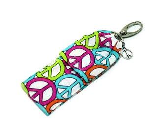 Peace Symbol Lip Balm Cozy, Flash Drive Holder, USB Key Holder, Portable Pocket, Beach Accessory