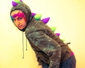 Upcycled Dino Hoodie- Ladies Small- Olive with Purple and Neon Green UV Spikes- Costume, Burning Man, Rave Festival