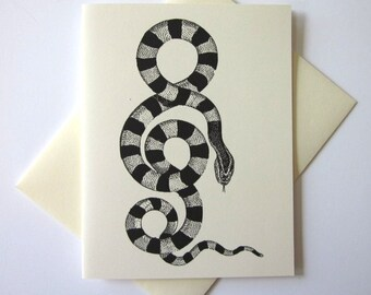 Snake Note Cards Set of 10 with Matching Envelopes