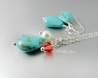 Turquoise Bridesmaid Jewelry Set, Turquoise Coral Necklace Earring Set, Coral and Turquoise Wedding, Beach Wedding, Davids Bridal Guava