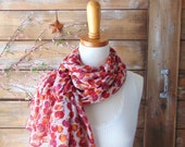 SALE - Floral Scarf, Long Scarf, Sheer Scarf, Pink Floral Scarf, Red Floral Scarf, Fashion Accessories, Women Scarf, Gift Idea for Her