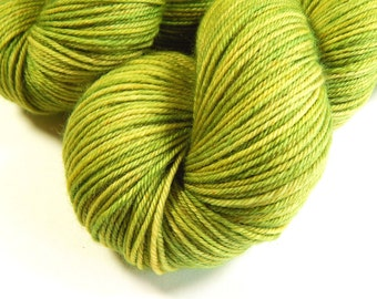 Hand Dyed Yarn - Sport Weight Superwash Merino Wool Yarn - Lettuce Tonal - Knitting Yarn, Sock Yarn, Sport Yarn, Green, Stocking Stuffer