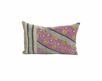 Vinatge Kantha Pillow - Abstract Pinkle Floral - 10 x 16