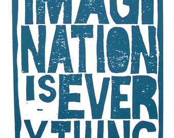 LINOCUT PRINT -  Einstein quote - Imagination is everything BLUE letterpress typography poster 8x10