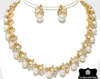 Gold Rhinestone and Pearl Necklace and Earrings Set