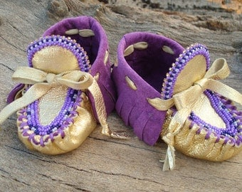 "Baby Moccasins By Desi, Beaded, 3 3/4"" long, Purple & Gold Geniune Leather, Infant girl shoes, Tribal, Aztec, Fancy, Winter Wear, Holiday"