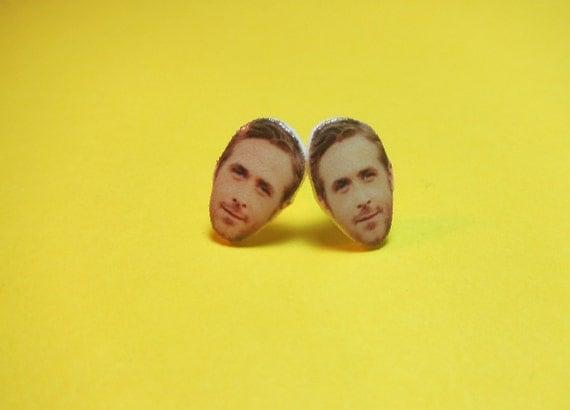 NEW!!! Ryan Gosling Face Post Earrings