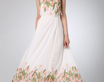White chiffon dress prom dress women maxi dress (1220)