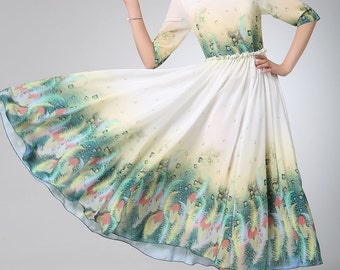 floral dress women, Prom dress women chiffon dress maxi dress (1218)