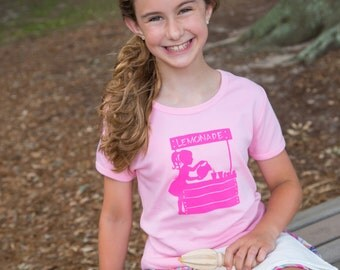 Lemonade Stand SS Girly Shirt by Nostalgic Graphic Tees in Pink with Lilly Pink