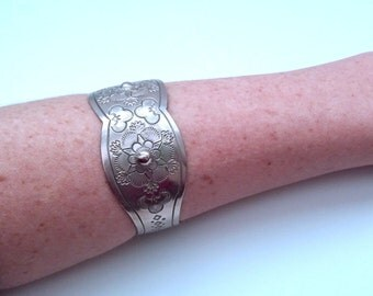 SALE...Beautiful Engraved Floral Sterling Silver detailed cuff bracelet