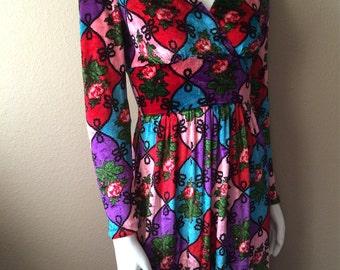 Vintage Women's 70's Boho Dress, Crushed Velvet, Long Sleeve, Full Length (S)