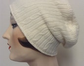 Sale! Pure Cashmere Rollup hat, cuff hat, slouch beanie, ivory cable, unisex,  FREE SHIPPING in the US