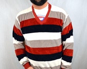Vintage 80s Striped Velour Top by Campus