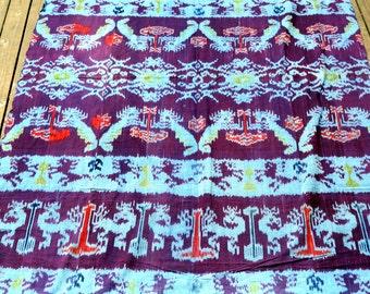 Vintage Woven Purple Ikat Fabric