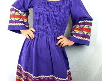 Beautiful Woven Purple 1970s Vintage Mexican Guatemala Dress by Maya Palace