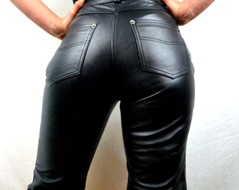 Vintage 1980s 90s Black Leather Pants