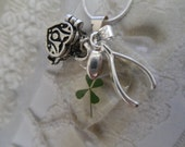 4 Leaf Clover Heart  Pendant-Real 4 Leaf Clover,Wish Box, Wishbone Charm-Lucky In Love-Gifts Under 35-Symbolizes Love, Luck, Hope & Faith