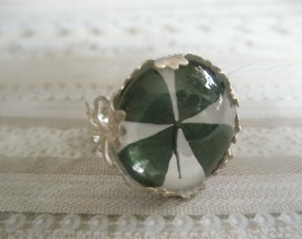 4 Leaf Clover Victorian Filigree Crown Ring Beneath Glass, Symbolizes Good Luck, Love,Hope and Faith-Gifts Under 25-Nature's Art