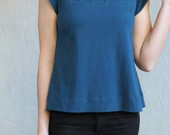 Folded Smock Top, Cotton Jersey Top, Modern Feminine One of a Kind- made to order