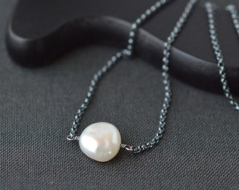 Large Pearl Necklace / Pearl Necklace Oxidized Sterling Silver / Single Pearl Necklace / Floating Pearl / 16 Inch