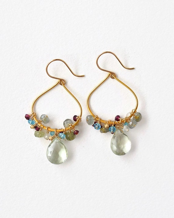Gemstone Hoop Earrings Gold Multi Colored Gems Green Amethyst Garnet